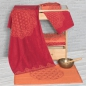Mobile Preview: Bio Frottee Liegetuch, Größe: 88 x 198 cm, Design: Happy Flower of Life, Farbe: rubinrot / koralle;