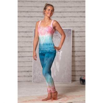 'The Spirit of OM' Yoga-Legging, indigo/peach