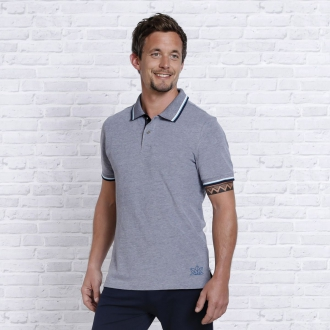 'The Spirit of OM' Polo-Shirt dunkelblau-weiß-melange