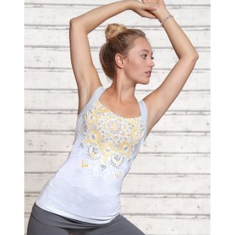 'The Spirit of OM' Yogatop white/silver/sun
